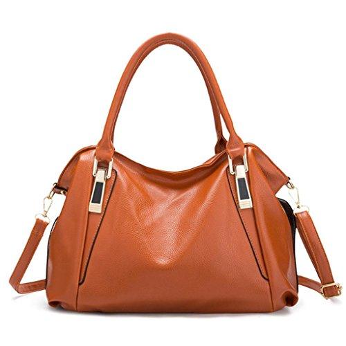 Tasche, Voberry Luxus Frauen hand Taschen Ledertaschen große Kapazität weiblichen Schultertasche Braun