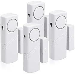 kwmobile Alarma para puertas y ventanas - set de 4 protecciones antirrobo incl. baterías - alama inalámbrica - 100dB intensidad acústica - Seguridad para el hogar