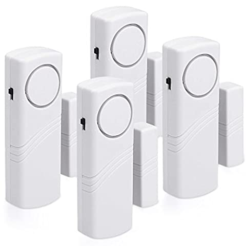 kwmobile Alarme pour portes et fenêtres - Ensemble de 4 protection sonores contre le cambriolage batteries comprises - alarme sans fil - volume 100dB - Home Security