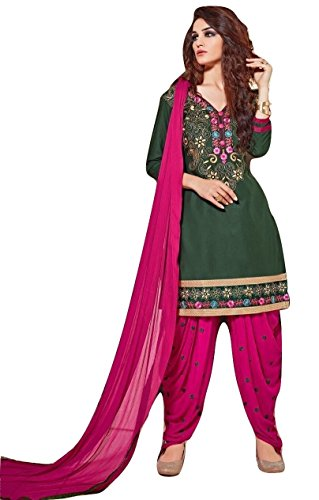 Shalibhadra green color top with pink color duppata and pink color salwar cotton unstitched fully heavy Embroidered work patiala suit pataliya dress material for women