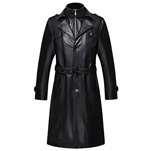 der Männer Echtes Leder Kleidung Business Lange Abschnitt Windbreaker Leder Männlich Trenchcoat Herren Coat,Black(Removabledownliner)-L/175/92(Bust:116cm/45.6in) ()