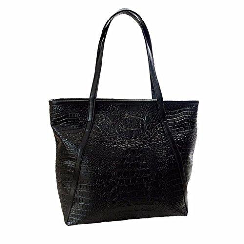 ESAILQ Loisir Femmes Crocodile Sacs à bandoulière Grande Sacs fourre-tout Grand sac à main Capacité