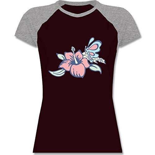 Blumen & Pflanzen - Blumen - zweifarbiges Baseballshirt / Raglan T-Shirt für Damen Burgundrot/Grau meliert