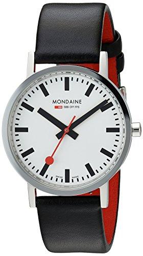 Mondaine Offizielle Schweizer Bahnhofsuhr Classic Damen-/ Herren-Uhr, Quartzuhr mit Schwarzem Lederarmband und rotem Futter