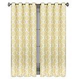 Blickdicht Ösenvorhang Ösenschal Schal Dekoschal für Fenster 2er Set Dekorativ 2 Stück viele Farben Klee Vorhänge mit Ösen 145x250 cm MAROKO (DL-7 Gelb)