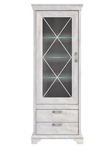 expendio Vitrine Kasimir 5 Pinie weiß 78x210x48 cm Glasvitrine LED-Beleuchtung Vitrinenschrank Wohnzimmerschrank Landhausstil