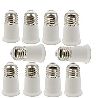 10 Pack E27 to E27 Socket Extender, E27 to E27 Lamp Holder Adapter,Fits LED/CFL Light Bulbs, Heat-Resistant, Anti-Burning (10 Pack E27/E27)