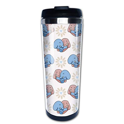 Vector Cute Elephant Hug Hearts Multi Insulated Stainless Steel Travel Mug 14 oz Classic Lowball Tumbler with Flip Lid