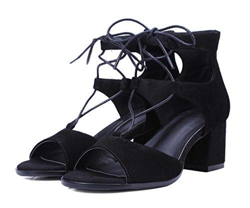 WZG Neue Sandalen dick mit hohen Absätzen offene Schuhe Kreuz Lederband Wildlederschuhe Black