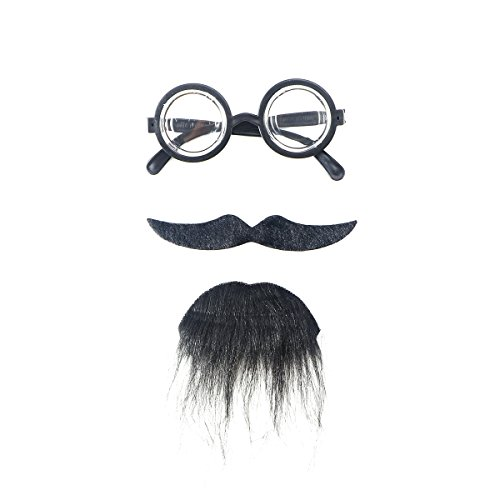oween Kostüme Selbstklebend Fake Bart Schnurrbart Goatee Brillen Kit Gesichtsbehaarung Cosplay Stützen Für Maskerade Halloween Party 3Pcs (Schwarz) (Fake-bärte Für Kinder)