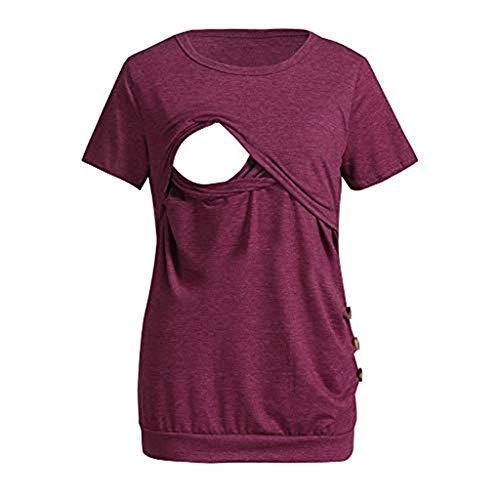 WUSIKY Damen Nursing Einfarbig Tops Stillen mit der Mutterschaft Sweatshirt Kurze Ärmel T-Shirt Blouse Valentine's Day Present 2019 Spring Elegant New Umstandsmode(X-Large,Wein)