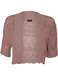 Femme Crochet Tricot Femmes Manches Courtes Crop Shrug Bolero Cardigan Top 8-14