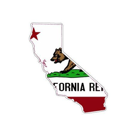 Selbstklebend Wandtattoo Sticker, Auto Flagge Karte Kalifornien USA California (Karten California)