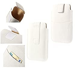 DFVmobile - Leather Pouch Case Pocket Sleeve Bag & Outer Bag & Buckle for Tecno W3 - White