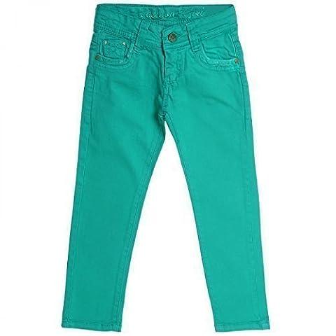 Mädchen Kinder Jeans Hose Röhre Straight Fit Skinny Sommer Stretch Bootcut 20354, Farbe:Grün;Größe:116