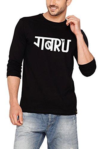 Bewakoof Mens Hinglish Gabru Full Sleeve Cotton T-Shirt_Black_X-Large