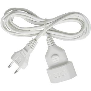 Brennenstuhl Kunststoff-Verlängerungskabel (für den Innenbereich, 5m Kabel, mit Euro-Stecker und Kupplung) weiß