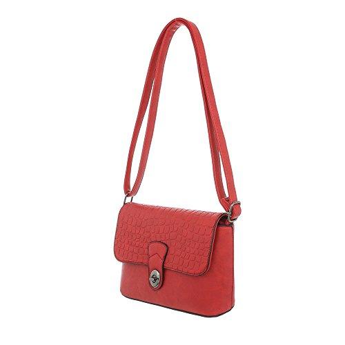 Umhängetasche Kleine Damentasche iTal dEsiGn Kunstleder Rot Used TA Schultertasche 11686 Optik EYpnwOq