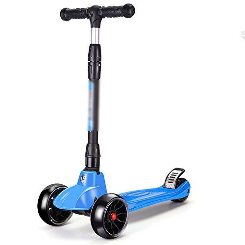 QFFL huabanche Scooter Doblador Scooter para Principiantes de Tres o Cuatro Ruedas Scooter desviador para niños de 3-12 años Bloque Deslizante 6 Colores Opcional (Color : A)