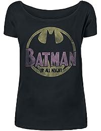 Batman Up All Night T-shirt Femme noir
