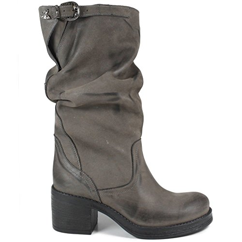 In Time Stivali Biker Boots Metà Polpaccio Tacco Donna 0295 Grigio Arricciati in Vera Pelle nabuk Made in Italy Grigio