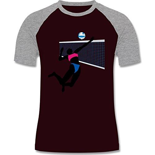 Volleyball - Beachvolleyballspielerin Netz Ball - zweifarbiges Baseballshirt für Männer Burgundrot/Grau meliert
