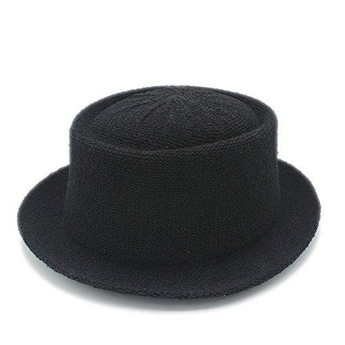 Haoweiwei Für Gentleman Mode Sonnenhut Brief Papa Boater Fedorahüte Papa Flachen Pork Pie Strand Hut Panama Cap Casual Hüte (Color : Black, Size : 56-58cm) (Stroh-hut Flachen Krempe)