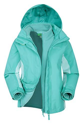 Mountain Warehouse Lightning wasserfeste 3-in-1-Kinder-Jacke - Triclimate-Jacke mit versiegelten Nähten, abnehmbare Kapuze, Fleece-Futter, mehrere Taschen Blaugrün 128 (7-8 Jahre)