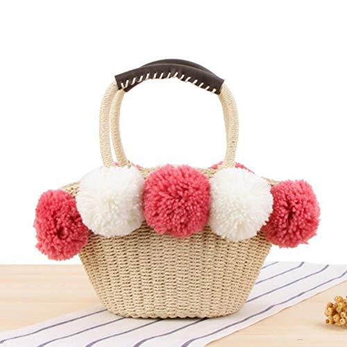 WOKJBGE Rattan Tasche Frauen-Sommer-handgemachte Einkaufstaschen-Strand-Stroh-Handtaschen, die Drawstring Hairball Big Shoulder Bag Pink Stricken -