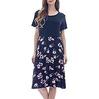 Women's Casual Daily Women Maternity Short Sleeve Floral Print Nursing Dresses for Breastfeeding (Navy, M)