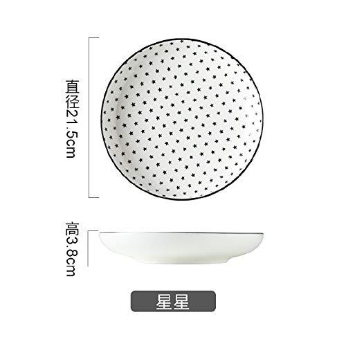 AAPP SHOP Japanische kreative Home Dish Platte gestreiften frühstück Platte Keramik runden Teller Reis Platte suppenteller Pasta Teller tiefen Geschirr Sterne(Reis Gericht)
