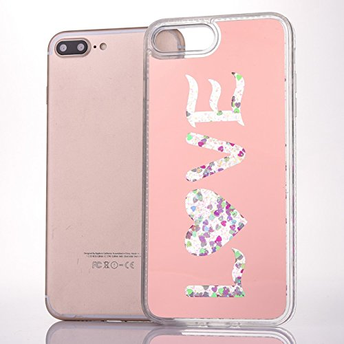 iPhone 7 Plus 14 cm Fall, iPhone 7 Plus Glitzer Cover, toyym Bling Flüssigkeit Schutzhülle Case Cover mit Sparkle Love Hearts, Creative transparent Dream Wort Muster Design Shinny Hard Kunststoff Case Love,Rose Gold