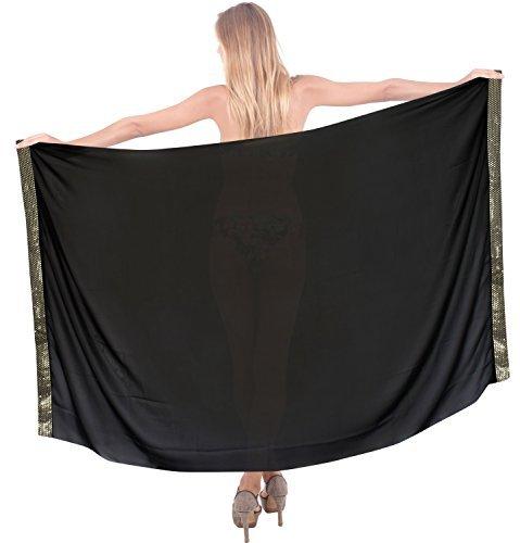 LA LEELA Badeanzug Sarong Strandrock Hawaii-Sarongs für Frauen Übergröße Large Maxi AK - Schwarz - 183 X 107 cm