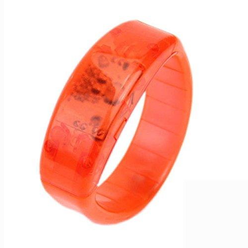 ontrolle Light Up Armband, LED leuchten Armband Sound kontrollierte Stimme LED Voice aktiviert, Glow Flash Bangle (Orange) ()