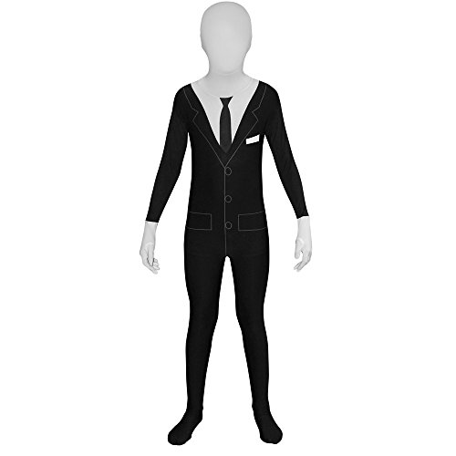 Morphsuits - Kinder Slenderman (Suit)  Kinder Fancy Dress Kostüm Large 4'6 - 5' (135cm - (Halloween Slenderman Kostüm)