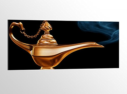 mer Märchen Lampe Dschinn 100x40cm Bild auf Aluminium AluDibond UV Druck gebürstet Wandbild Metall Effekt 16A3677, Alu Gr. 2:100x40cm ()