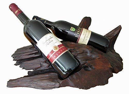 Weinflaschenhalter für 2 Weinflaschen massiv dunkel braun ca. 30-50x20-30x15 cm Teakholzwurzel Holz Treibholz Weinhalter Holzflaschenhalter Wurzelholz Holzwurzel Flaschenwurzel Weinflaschenständer