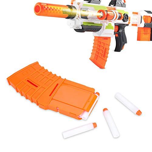 Tbest Clip de Bala Suave Darts Bullet Clips, 10 Dardos Recarga Rápida Clip Soft Bullet Reemplazo de Soporte de Clip de Revista para Nerf Elite Serie Accesorio de Pistola de Juguete, Naranja