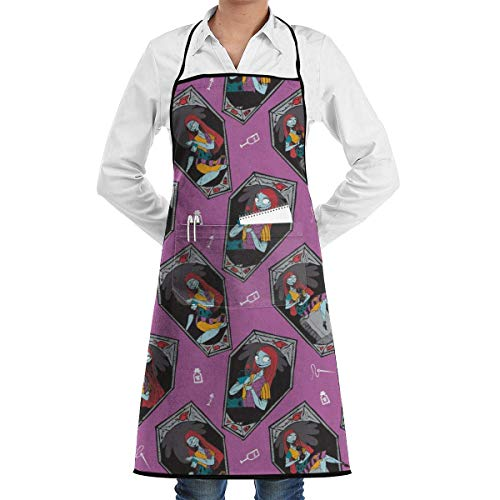 yiyuanyuantu The Night Christmas Sally in Orchid Purple Apron, Unisex Kitchen Bib Apron with or Cooking Baking Gardening,