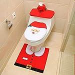 Heylookhere Unico Pratico Decorazioni di Natale Set da Toilette Coprisedile Coprivaso da Bagno in Tessuto Set Copripiumino Santa