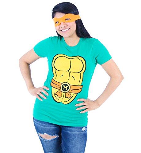 Teenage Mutant Ninja Turtles Tmnt Michelangelo Kostüm Junior grün T-Shirt With Orange Eye Mask (Junior XX-Large)