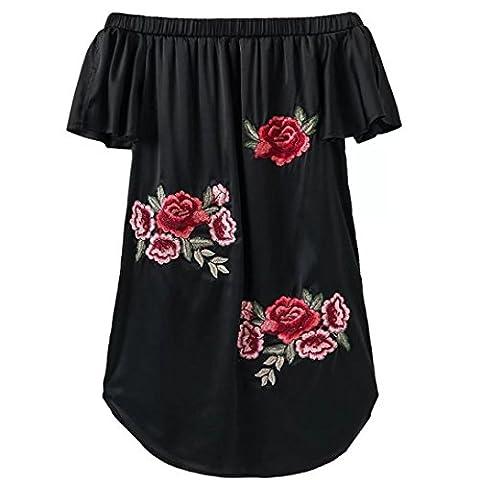 HOT!!! Amlaiworld Femmes robe Appliques sexy rose Imprimer manches courtes OFF épaule mini robe (M, Noir)