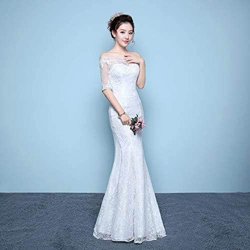 23c16d09c4db86 BINGQZ Vestido Fiesta Noche/Coctel/Casual Vestido de Novia Long White Color Vestido  de