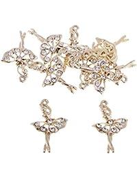 634cca9a8e7e IPOTCH 10 Piezas Colgante de Oro Bailarina de Ballet Fabracación Collar