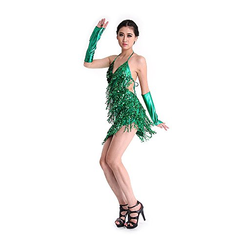 SymbolLife Womens latine Strap Robe Paillettes Tassel Rumba danse de salon Fancy robe dos nu + Groves Vert