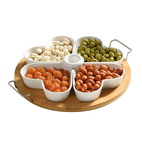 Keramik-Snack-Set Candy Dish mit Bambus-Tablett und Deckel für Holiday Party Nuts Früchte Dish Snack Serving Bowl Fruit Dessert Geschenk -