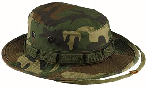 Boonie Hat Chapeau Brousse Jungle US Army Commando Trooper - Coloris Woodland Camouflage - Taille Large - Airsoft - Paintball - Chasse - Pêche - Randonnée - Outdoor