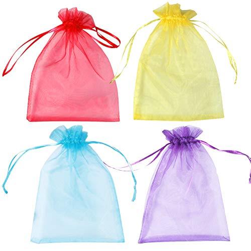 Organza Geschenkbeutel, 100, Organza Candy Schmuck Armbänder Party Hochzeit Favor Geschenk Taschen, Orange Pink Grün Blau Burple 5Farben Weihnachten Geschenk, 10,2x 15,2cm 100pcs-4 color