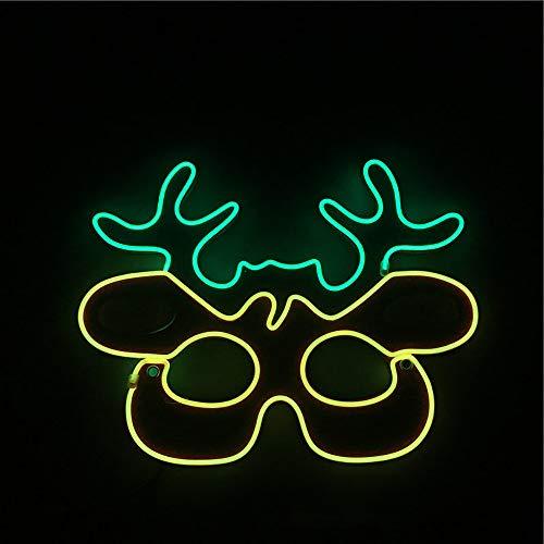 Weihnachten LED Maske Kind Cosplay Kostüm im dunklen Kaltlicht Xmas Party Festival Masquerade Decor,C (Dunkle Maskerade Kostüm)