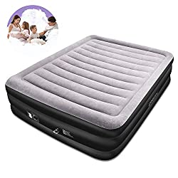SPREEY Double Airbed Built-in Electric Pump Air Bed, Inflatable Mattress Bed Soft Flocking Layer Comfortable with Portable Storage Bag, Black